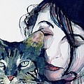Kate and her Cat Print by Paul Lovering