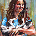 Kate Middleton Duchess of Cambridge and her royal baby cat Poster by Daniel Cristian Chiriac