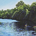 Kayaks on Rainbow River Print by Penny Birch-Williams