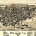 KEY WEST FLORIDA MAP 1884 Poster by Daniel Hagerman