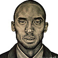 Kobe Bryant Black and White Print Print by Rabab Ali