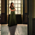 Lady in Green Gown by Window Print by Jill Battaglia