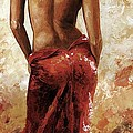 Lady in red 27 soft color Print by Emerico Imre Toth