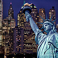 Lady Liberty by night Print by Delphimages Photo Creations