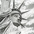 Lady Liberty Drawing Print by Sarah Batalka