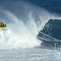 Laird Hamilton Going Left At Jaws Print by Bob Christopher