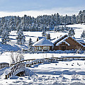 Lake House in Snow Print by Ron White