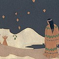 Lakota Woman with Winter Constellations Print by Dawn Senior-Trask