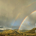Land of Enchantment - Rainbow over Sandia Mountains Poster by Matt Tilghman