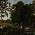 Landscape with a courtly procession before Abtspoel Castle Poster by Esaias I van de Velde