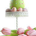 Large Easter egg with pink tulips  Print by Sandra Cunningham