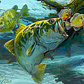 Large Mouth Bass and Blue Gills Print by Savlen Art