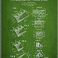 Lego Toy Building Blocks Patent - Green Print by Aged Pixel