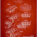 Lego Toy Building Brick Patent - Red Print by Aged Pixel