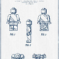 Lego Toy Figure Patent - Blue Ink Print by Aged Pixel