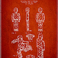 Lego Toy Figure Patent - Red Print by Aged Pixel