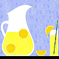 Lemonade And Glass Blue Print by Andee Design