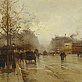 Les Boulevards Paris Print by Eugene Galien-Laloue