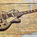 Les Paul on USA Map Print by William Cauthern