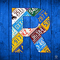 Letter R Alphabet Vintage License Plate Art Poster by Design Turnpike