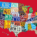 License Plate Map of The United States on Bright Red Print by Design Turnpike
