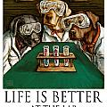 Life Is Bette At The Lab - Labrador Retrievers Print by Kathleen Harte Gilsenan