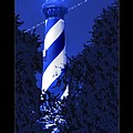 Lighthouse In Blue Poster by Mike McGlothlen