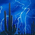 Lightning  over the Sonoran Print by Sharon Duguay