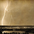 Lightning Strike Boulder Reservoir and Coot Lake Sepia 2 Poster by James BO  Insogna