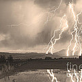 Lightning Striking Longs Peak Foothills Sepia 4 Print by James BO  Insogna