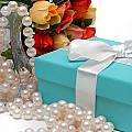 Little Blue Gift Box with Pearls and Flowers Poster by Amy Cicconi
