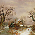 Little Red Riding Hood in the Snow Print by Charles Leaver
