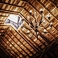 Log Cabin Chandelier  Print by Mountain Dreams