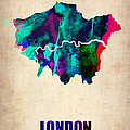 London Watercolor Map 2 Print by Irina  March