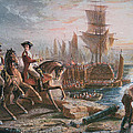 Lord Howe organizes the British evacuation of Boston in March 1776 Print by English School