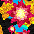 Lotus Flower Bombs In Magenta Poster by Kenal Louis