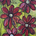 Love For Five Daisies Print by Laurie Maves ART