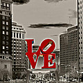 Love Sculpture - Philadelphia - BW Poster by Lou Ford