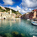 Low Angle View of Vernazza  Harbor Print by George Oze