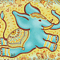 Lucky Elephant Turquoise Poster by Judith Grzimek