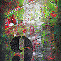 LUCKY NUMBER 9 green red grey black Abstract by Chakramoon Poster by Belinda Capol