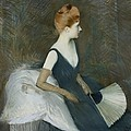 Madame Marthe Letellier Sitting on a Sofa Poster by Paul Cesar Helleu