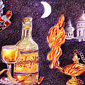 Magic Lamp Wine Poster by Candace  Hardy