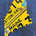 Maine License Plate Map Vintage Vacationland Motto Poster by Design Turnpike