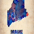 Maine Watercolor Map Poster by Naxart Studio
