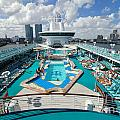 Majesty of the Seas Against Miami Skyline Poster by Amy Cicconi