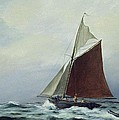 Making sail after a blow Print by Vic Trevett