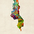 Malawi Watercolor Map Print by Michael Tompsett