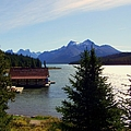Maligne Lake Boathouse Print by KAREN WILES