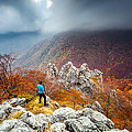 Man And the Mountain Print by Evgeni Dinev